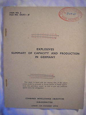 British Intelligence Report Germany Explosive Production Munition Army Air Force
