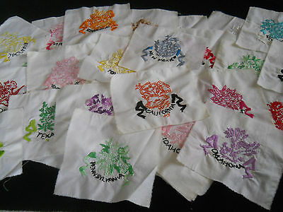 48 Vintage Embroidered State Flowers Quilt Blocks-8 1/2x8