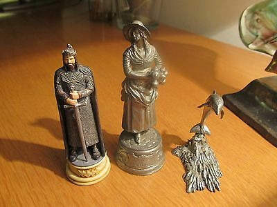 Three,  Cast,   Pewter,   Figures,  All  Individual.