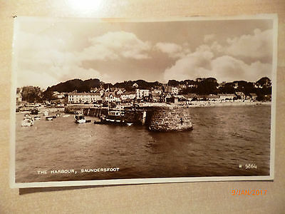 Topographical Real Photo postcard - Posted 1964 - SAUNDERSFOOT HARBOUR