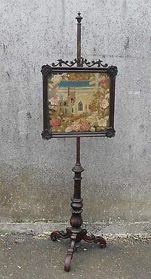 Antique Victorian Pole/Face Screen-Church Tapestry NR