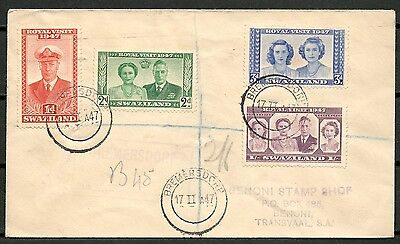Swaziland 1947 Cover Set Of Stamps Royal Visit, To Transvaal -Cag 110916