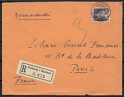 Switzerland 1937 Registered Cover, Fribourg To Paris -Cag 210916