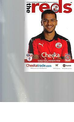 PROGRAMME - CRAWLEY TOWN v HARTLEPOOL UNITED - 14 JANUARY 2017