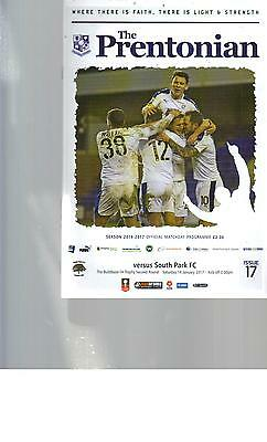 PROGRAMME - TRANMERE ROVERS v SOUTH PARK - FA TROPHY - 14 JANUARY 2017