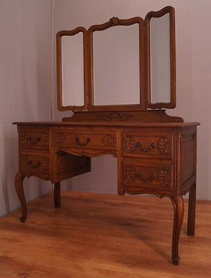 1289 !! Superb Oak Dressing Table With Mirror In Louis Xv Style !!