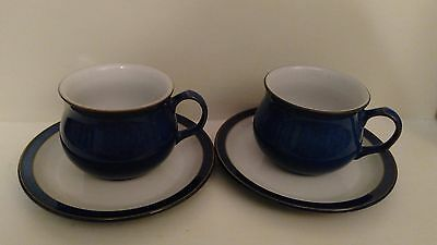 Pair Denby 'Imperial Blue' Cups and Saucers VGC #4