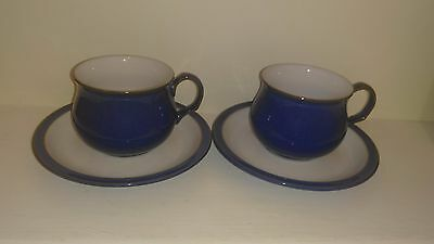 Pair Denby 'Imperial Blue' Cups and Saucers #3