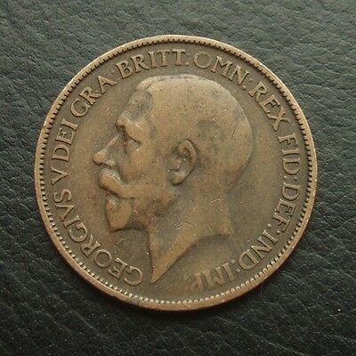Gb 1923 George V Halfpenny : Bronze Coin #03