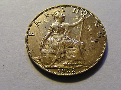 1922 George V Farthing Coin  - very Shinny could have been polished