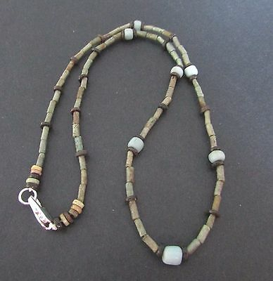 NILE  Ancient Egyptian Amulet Glass Mummy Bead Necklace ca 600 BC