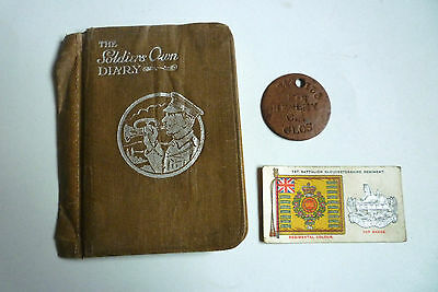 WWI THE SOLDIERS OWN DIARY and IDENTIFICATION TAG ORIGINAL 1914 DISC F.B.HENLEY