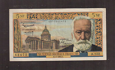 France 1959 Issue, 5 Francs Victor Hugo 1-7-1965 Fine Condition!!