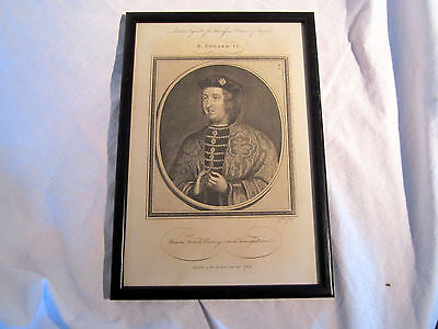 Antique Coloured Engraving Of King Edward Iv From 1785