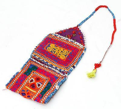 Vintage Banjara Embroidery Ethnic Handmade Beaded Mirror Tribal Wallet/pouch