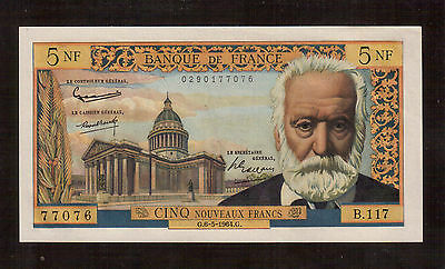 France, 1959 Issue, 5 Francs Victor Hugo 5-6-1964, Vf/au Very Nice Condition !!