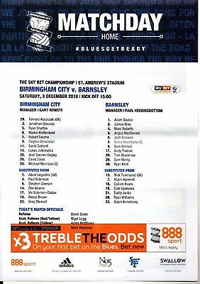 3.12.2016 BIRMINGHAM CITY v BARNSLEY, original colour TEAMSHEET!