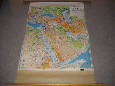Philip's Regional Pull Down School Wall Map of the Near East & Middle East 1961