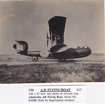 Admiralty A.d Flying Boat, Sn Ni520 Built By Supermarine Aviation, Real Photo