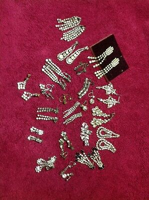 Large Collection Vintage  Paste / Diamante Earrings