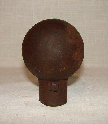 "Antique Cast Iron Steampunk Ball Fence Post Flag Pole Topper Finial Cap 3"" Ball"