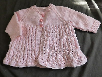 hand knitted baby matinee jacket pink baby girl 3-6 months/reborn dolls (no2)
