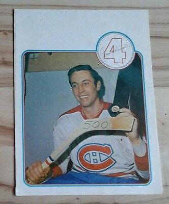 Rare Jean Beliveau Montreal Canadiens 500Th Goal 5 In 1 24 X 36 Poster Vtg 1970S