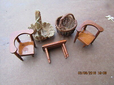 Dolls house accessories 2 chairs one table 2 wicker baskets Vintage