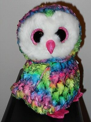 "Ty Beanie Big Boos - OWEN the 8-9"" Medium Tie Dyed Owl  ~ NEW 2017 ~ IN HAND"