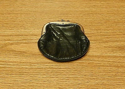 """Old Black Leather 3 Compartment Coin Pouch Purse 4"""" X 4"""""""