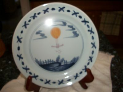 Winterthur Hand Painted & Made in France Hot Air Balloon Plate