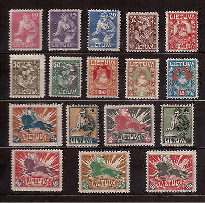 Lithuania 1921/22 Set 17 Stamps # 97-113, F-Vf H, 2008 Scott $25.75 !!