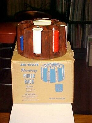 POKER CHIP RACK VINTAGE 1950'S Revolving  CHICAGO ILLINOIS with original box