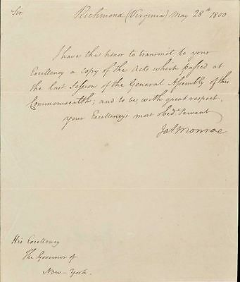 James Monroe 1800 Manuscript Letter Signed As Governor of Virginia - To John Jay
