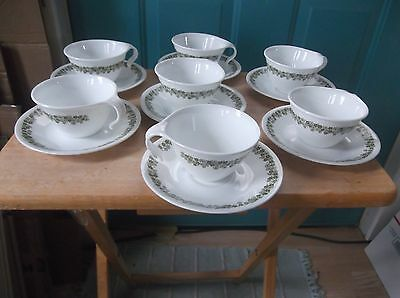 Seven Vintage Glass Corelle Spring Blossom Green Cups and Saucers