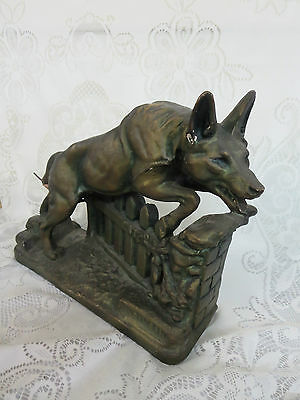 Vintage Rin Tin Tin Sculpture Figure Jumping Fence AS IS