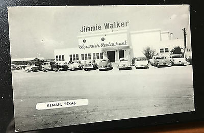 1956 RPPC postcard Kemah,Texas Chevy Olds Ford old cars restaurant