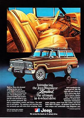 "1979 Jeep Wagoneer Limited photo ""Ultimate in Comfort & Luxury"" promo print ad"