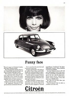 "1964 Citroen 4-door Sedan photo ""French Charm... Funny Face"" promo print ad"