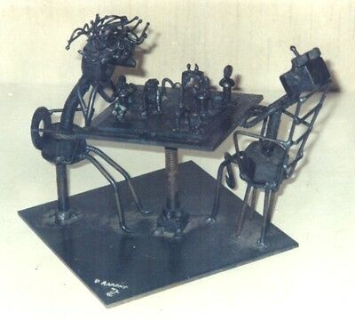 Men Playing Chess Metal Sculpture by Dennis Aarons 1972 Signed