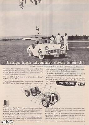 """1960 Triumph TR3 TR-3 Photo """"Sky-Diving at Airport"""" Ad"""