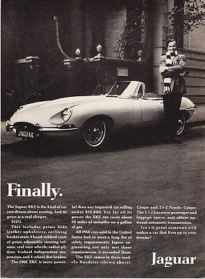 "1968 Jaguar XKE Roadster photo ""Lives Up to Your Dreams"" promo print ad"