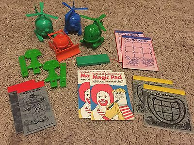 Vintage McDonalds Lot OLD Happy Meal Toys- 1970s & 1980s. Plastic And Paper