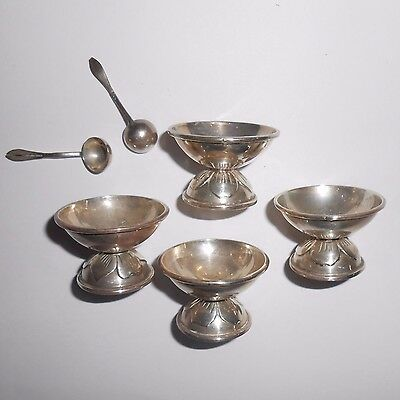 Taxco Sterling Silver open salt dishes spoons Eagle 3 leaf floral motif
