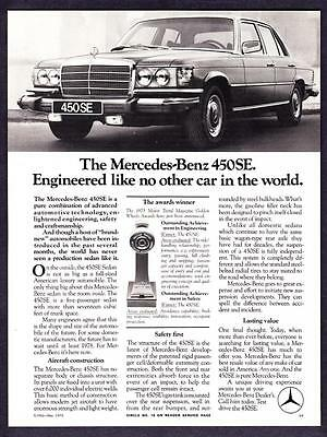 "1975 Mercedes-Benz 450SE Sedan photo ""Engineered Like No Other"" promo print ad"