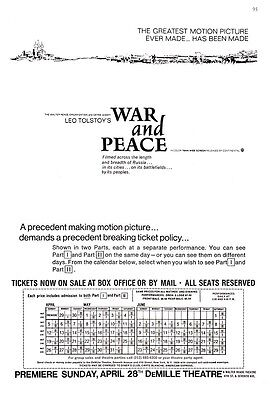 """1968 Leo Tolstoy """"War and Peace"""" Movie vintage promo print ad"""