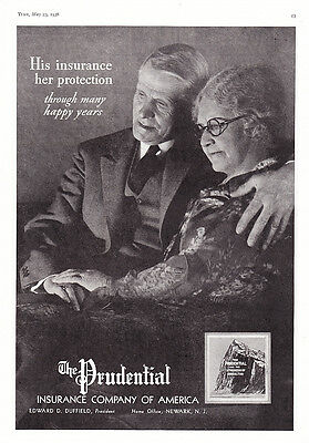 1938 Husband & Wife photo Prudential Insurance promo print ad