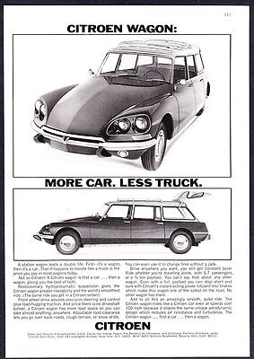 "1969 Citroen Station Wagon photo vintage ""More Car. Less Truck."" promo print ad"
