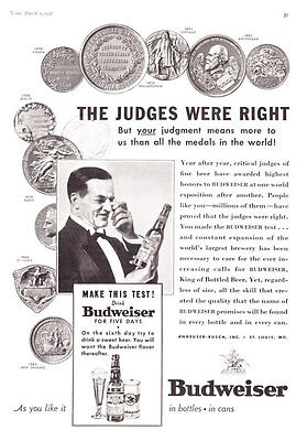 "1937 Budweiser Beer Medals ""Judged Highest Honors Year After Year"" promo ad"