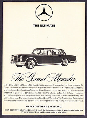 "1964 Mercedes-Benz Grand Mercedes Sedan photo ""Comfort & Safety"" promo print ad"